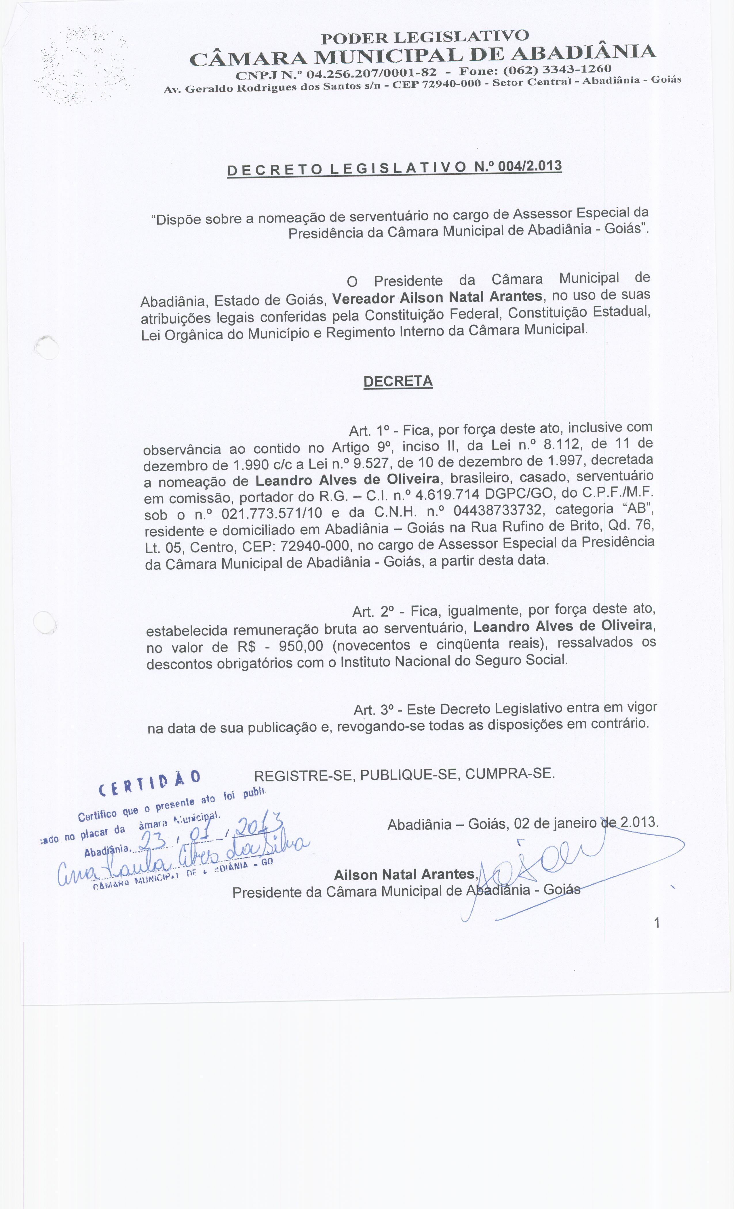 Decreto Legislativo n° 004-2013