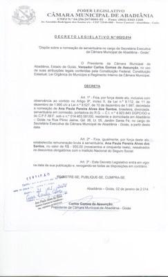 Decreto Legislativo n° 002-2014