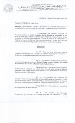 Portaria n° 001-2014